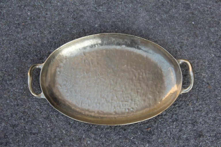 Tray solid brass hammered Italian design with handles 1970 gold Italian design. Signed.