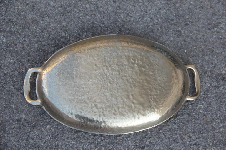 Tray Solid Brass Hammered Italian Design with Handles, 1970 Gold Italian Design  For Sale 1