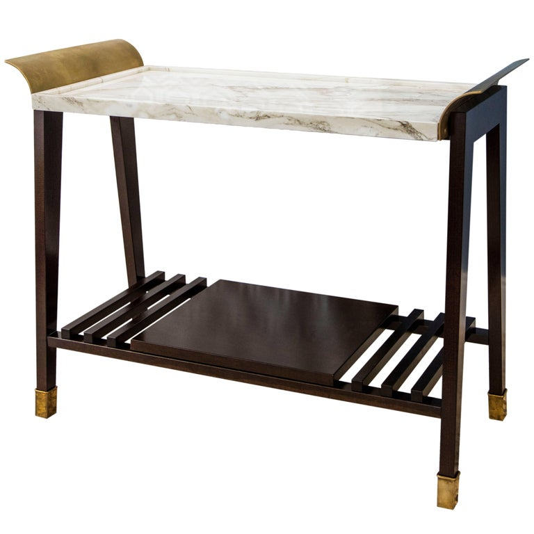 Tray Table in Paonazzo Marble, Cherrywood and Brass For Sale