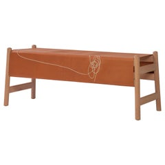 Trazo Leather Bench, Beechwood and Maguey fiber.