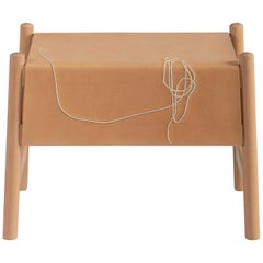Trazo Natural Leather Stool, Beechwood