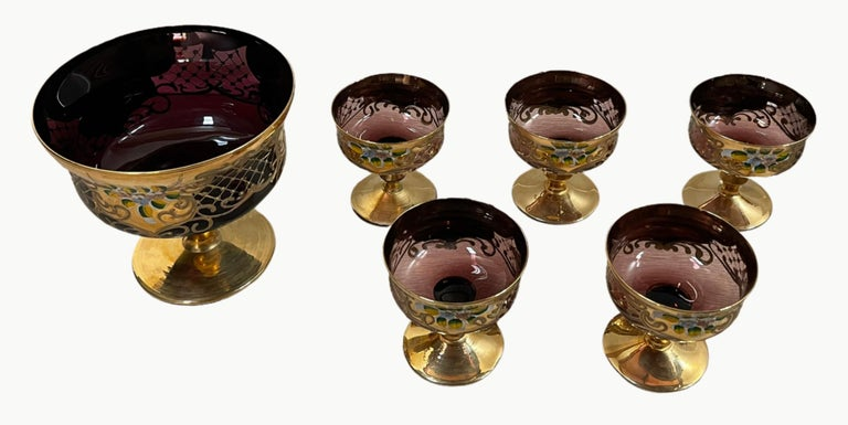 """The murano glass dessert set is made in a rare technique called Tre Fuochi, which means """"three flames"""" or """"triple-firing"""" in Italian. This technique hails from the opulence of the eighteenth century Venice where many wealthy Venetians and foreigners"""