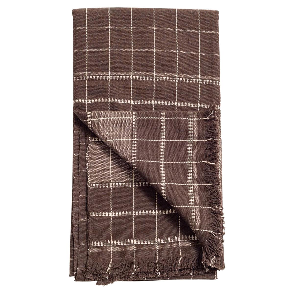 Treacle Brown Handloom King Size Bedspread / Coverlet in Organic Cotton