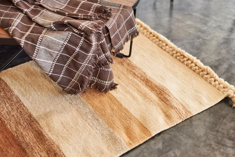 Treacle Brown Handloom Throw / Blanket In Organic Cotton For Sale 1