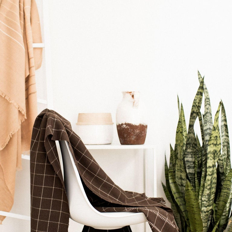 Hand-Woven Treacle Handloom Throw / Blanket in Organic Cotton For Sale