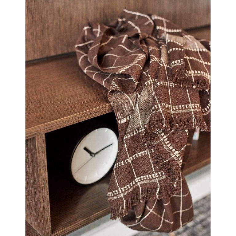 Yarn Treacle Brown Handloom Throw / Blanket In Organic Cotton For Sale