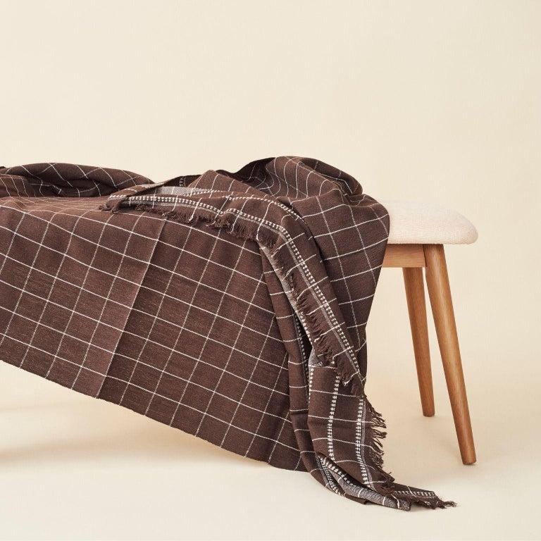 Modern Treacle Brown Handloom Throw / Blanket In Organic Cotton For Sale