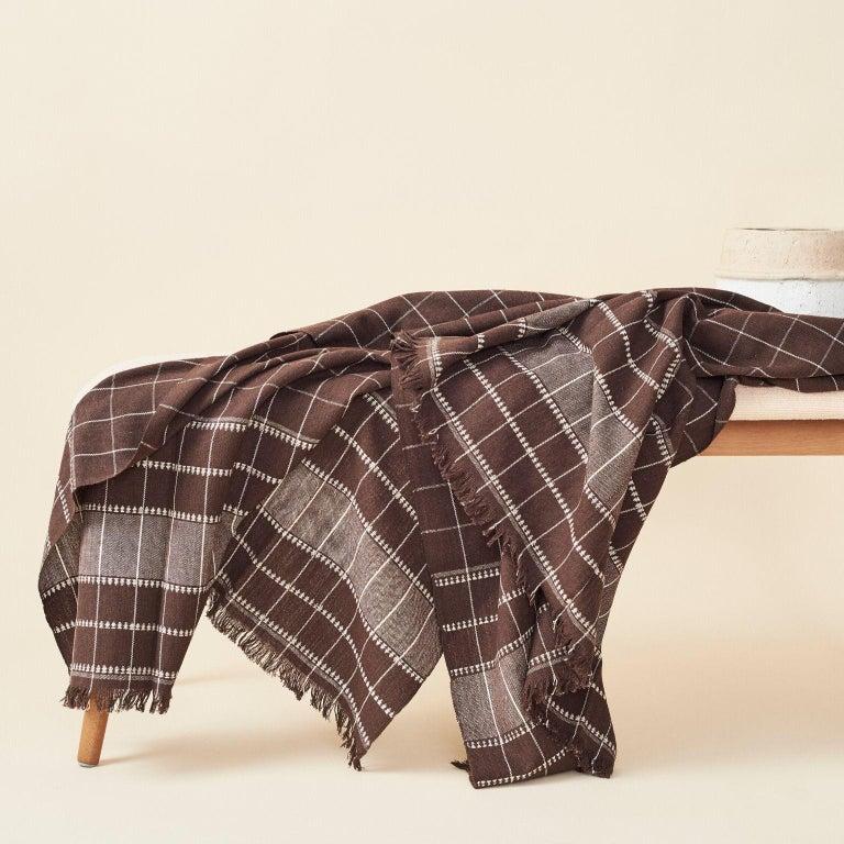 Nepalese Treacle Brown Handloom Throw / Blanket In Organic Cotton For Sale