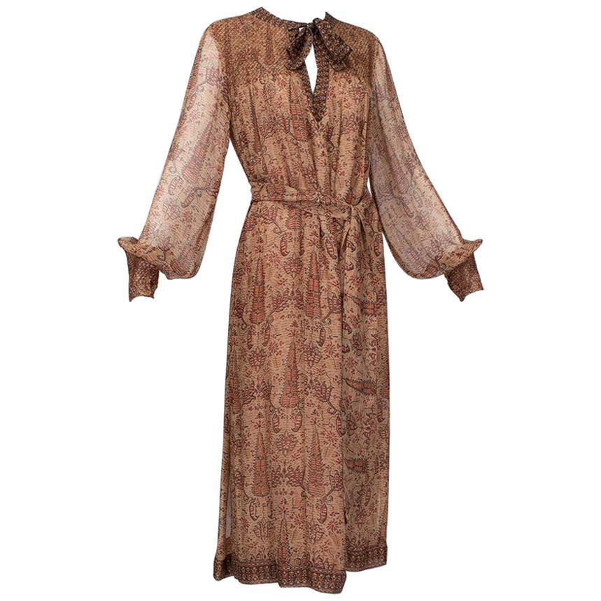 Treacy Lowe Brown Ethic Print Summer Keyhole Midi Dress - Med-Large, 1970s