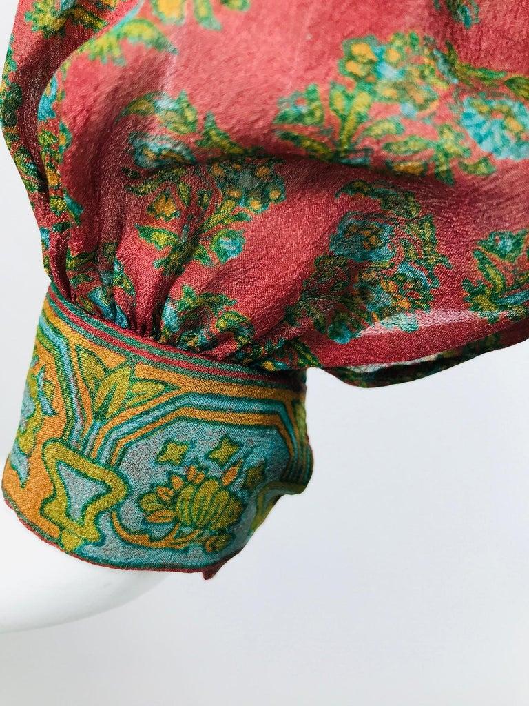 Treacy Lowe London Rare Hand Smocked Silk Print Maxi Dress 1970s For Sale 6