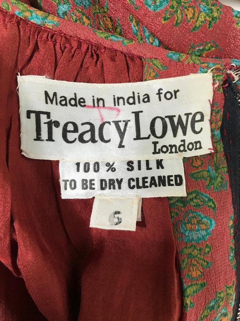 Treacy Lowe London Rare Hand Smocked Silk Print Maxi Dress 1970s For Sale 7