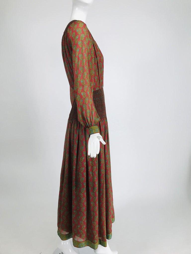 Brown Treacy Lowe London Rare Hand Smocked Silk Print Maxi Dress 1970s For Sale