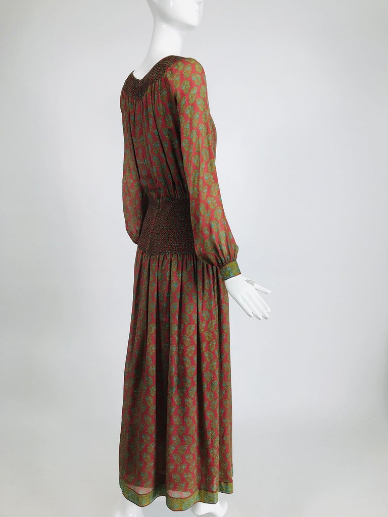 Treacy Lowe London Rare Hand Smocked Silk Print Maxi Dress 1970s In Excellent Condition For Sale In West Palm Beach, FL
