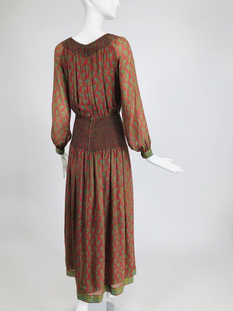 Women's Treacy Lowe London Rare Hand Smocked Silk Print Maxi Dress 1970s For Sale