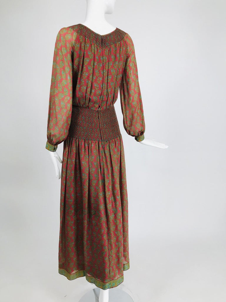 Treacy Lowe London Rare Hand Smocked Silk Print Maxi Dress 1970s For Sale 1