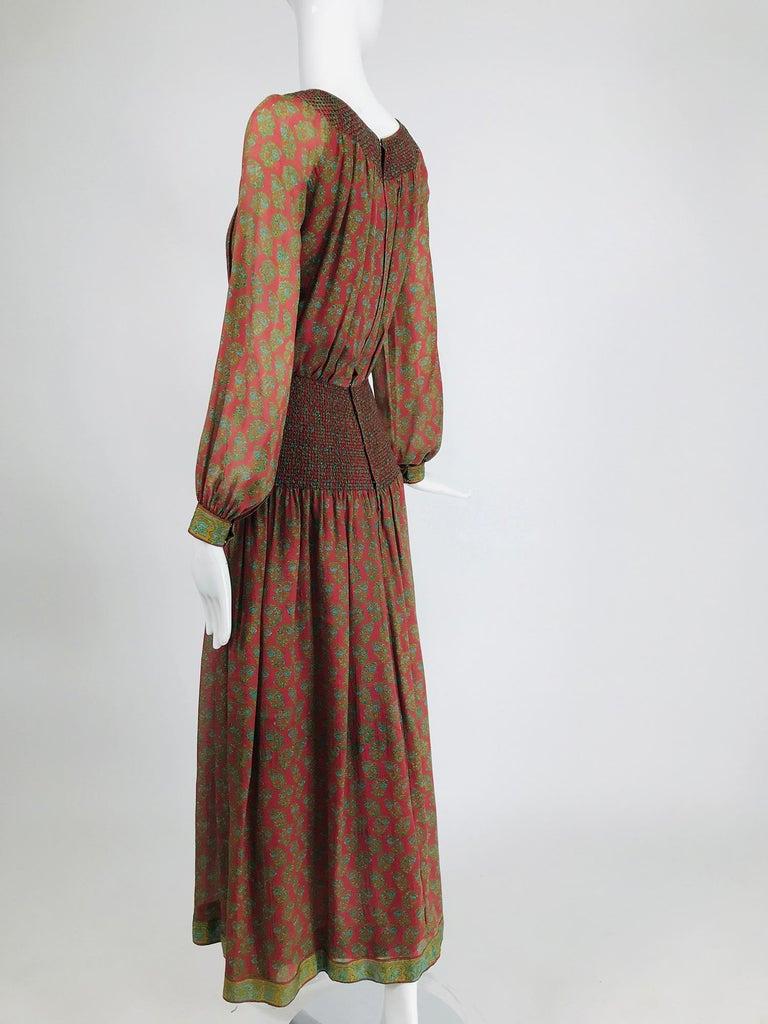Treacy Lowe London Rare Hand Smocked Silk Print Maxi Dress 1970s For Sale 2