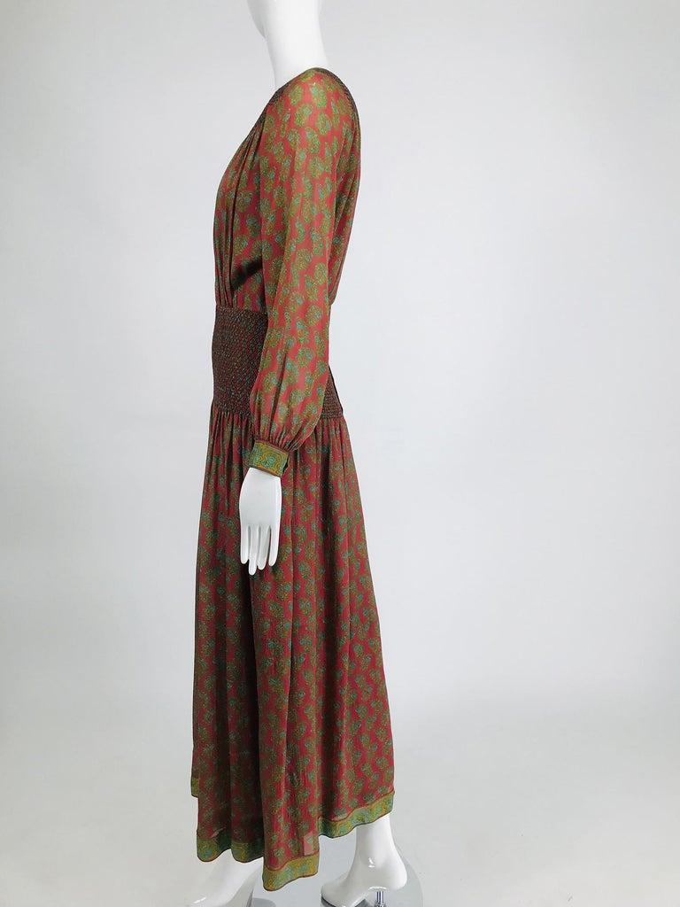 Treacy Lowe London Rare Hand Smocked Silk Print Maxi Dress 1970s For Sale 3