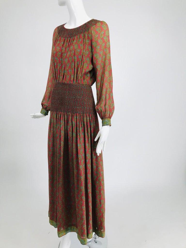 Treacy Lowe London Rare Hand Smocked Silk Print Maxi Dress 1970s For Sale 4