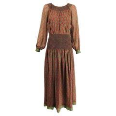 Treacy Lowe London Rare Hand Smocked Silk Print Maxi Dress 1970s