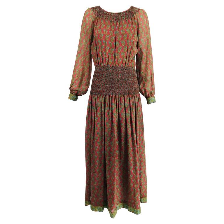 Treacy Lowe London Rare Hand Smocked Silk Print Maxi Dress 1970s For Sale