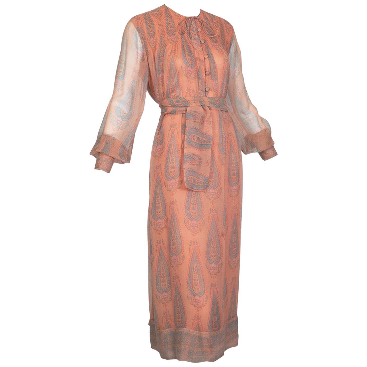 Treacy Lowe Peach Paisley Smocked Pussy Bow Midi Dress - Med-Large, 1970s