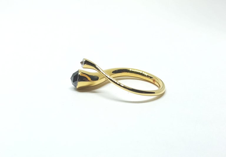 Women's Tread the Untreaded Path with Black and White Diamond Yellow Gold Fashion Ring For Sale