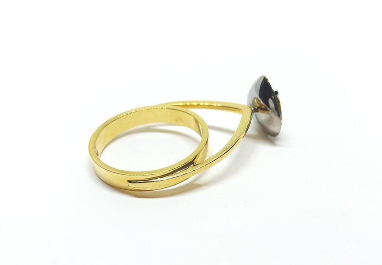 Contemporary Tread the Untreaded Path with Colored Diamond Solitaire Yellow Gold Ring For Sale