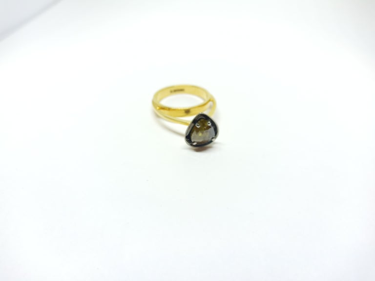 Rose Cut Tread the Untreaded Path with Colored Diamond Solitaire Yellow Gold Ring For Sale