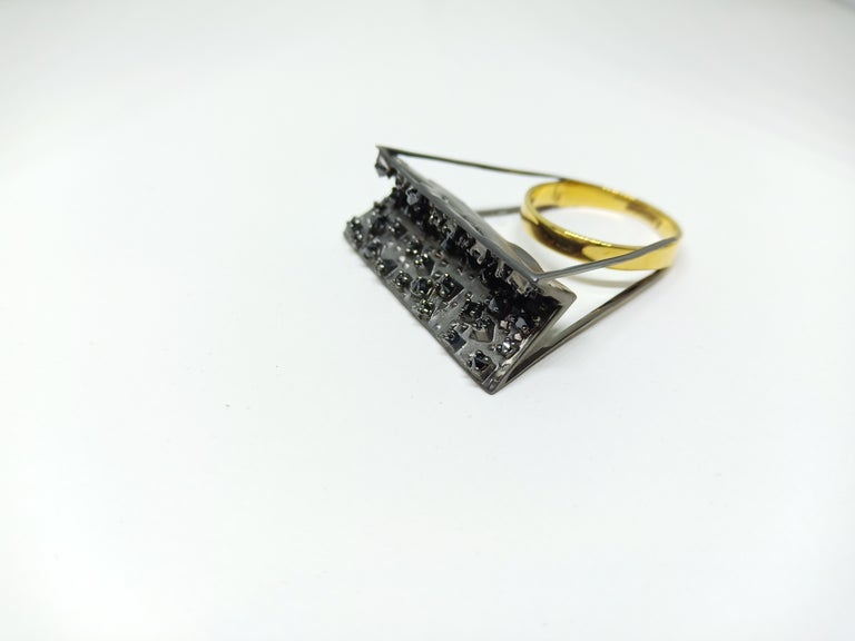 Tread the Untreaded Path with Contemporary Black Diamond Cocktail Gold Ring For Sale 5