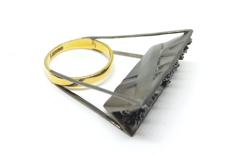 Tread the Untreaded Path with Contemporary Black Diamond Cocktail Gold Ring For Sale 1