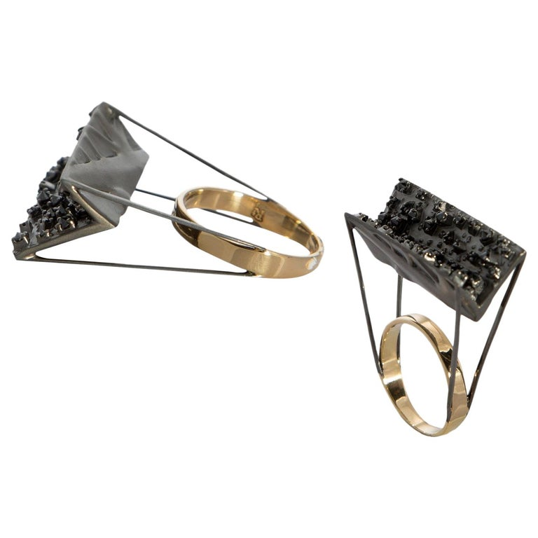 Tread the Untreaded Path with Contemporary Black Diamond Cocktail Gold Ring For Sale