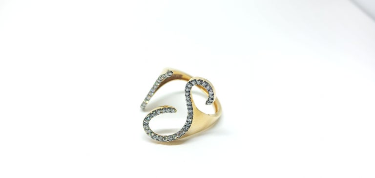 Tread the Untreaded Path with Contemporary White Diamond Rose Gold Fashion Ring For Sale 2