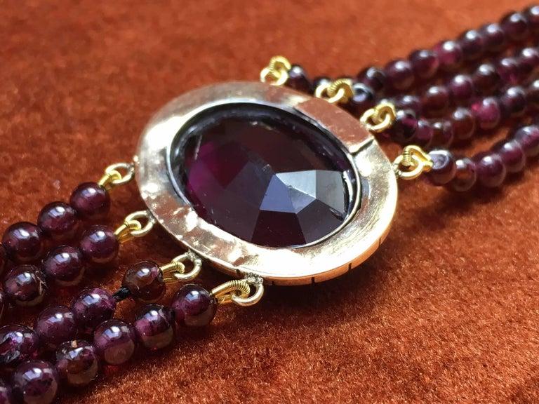 Treasurehuntworld Antique Pink Gold Bracelet Pearls Four Strand Garnet For Sale 1