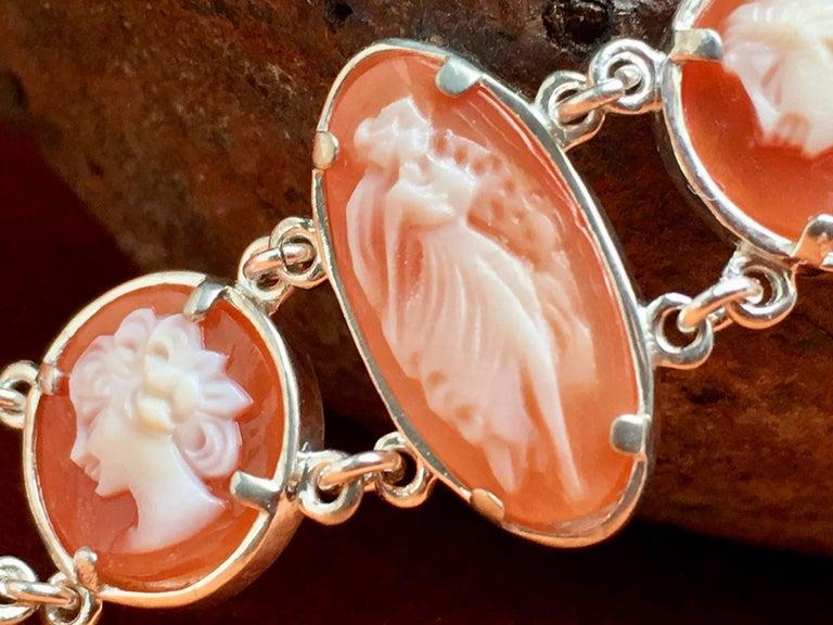 Cameo Bracelet Handmade Silver Italian Hand carved Cameo For Sale 1