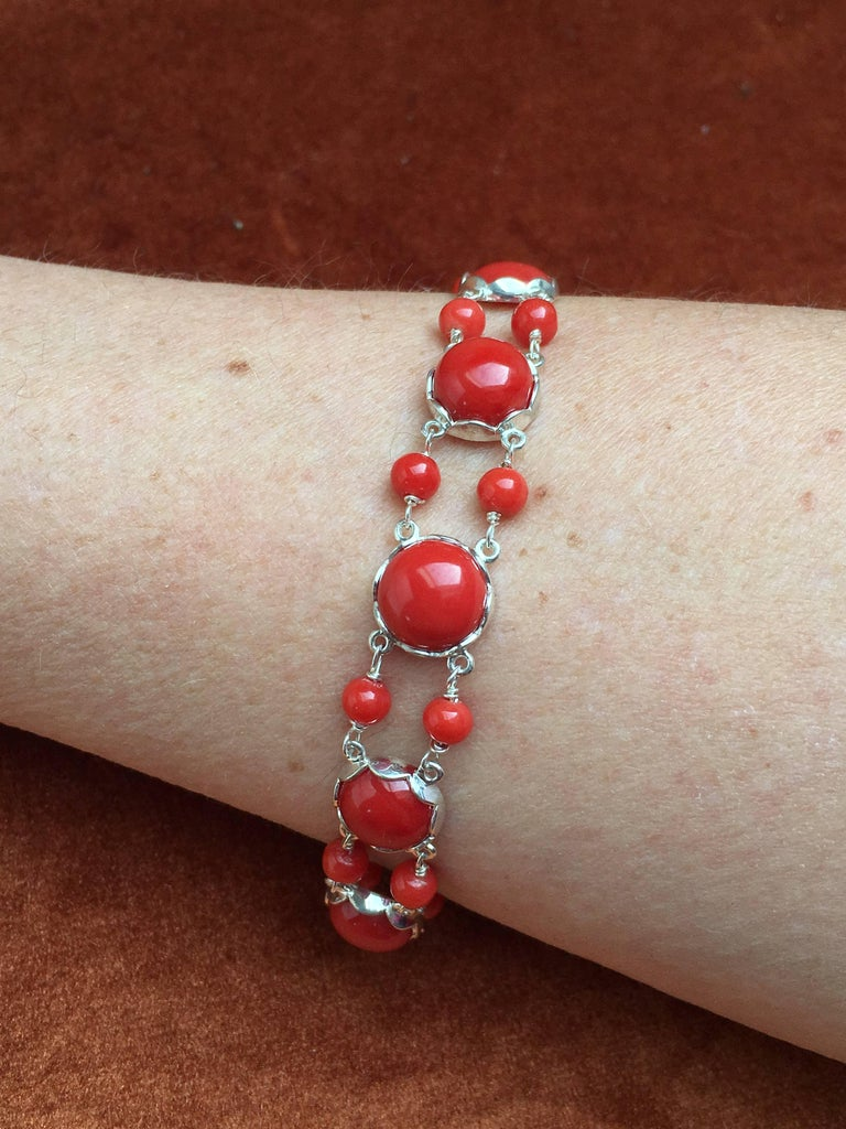 Red Coral Bracelet Handmade Italian Red Coral Silver  For Sale 4