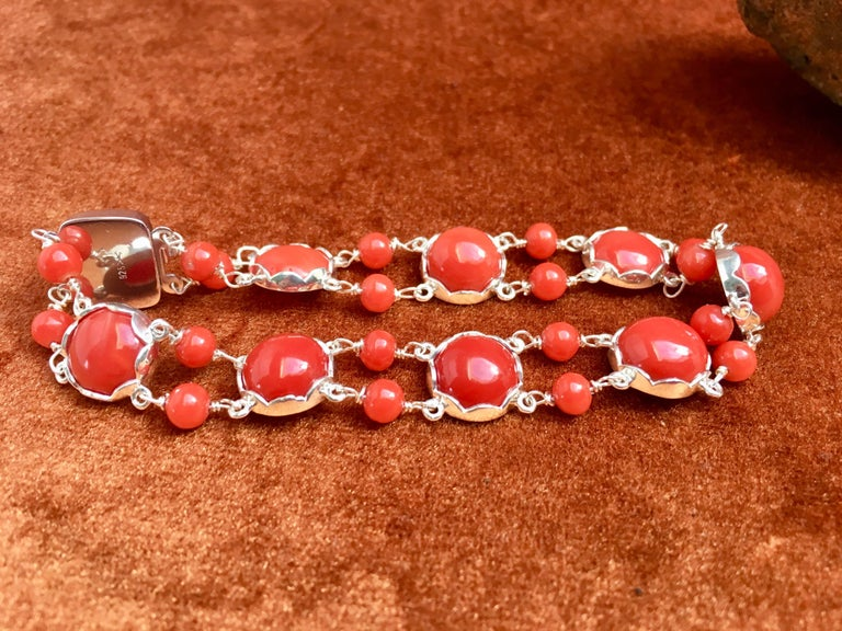 Arts and Crafts Red Coral Bracelet Handmade Italian Red Coral Silver  For Sale