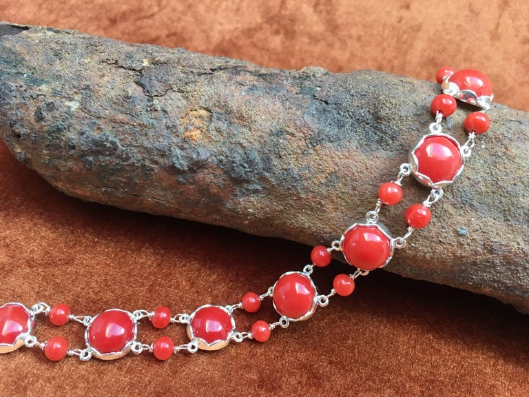 Round Cut Red Coral Bracelet Handmade Italian Red Coral Silver  For Sale
