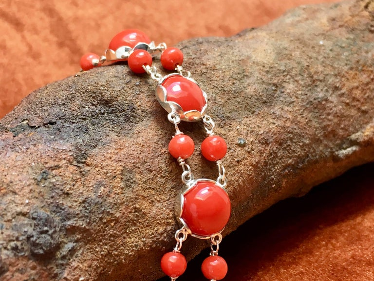 Red Coral Bracelet Handmade Italian Red Coral Silver  In New Condition For Sale In 's-Hertogenbosch, NL