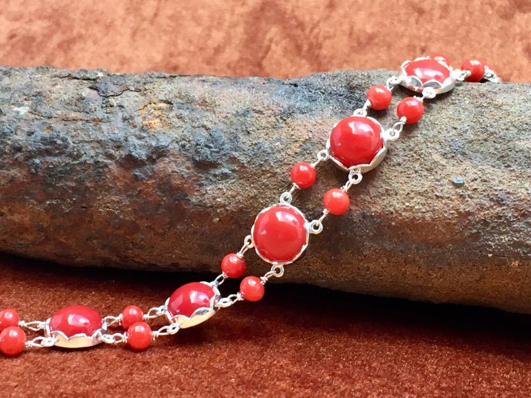 Women's Red Coral Bracelet Handmade Italian Red Coral Silver  For Sale