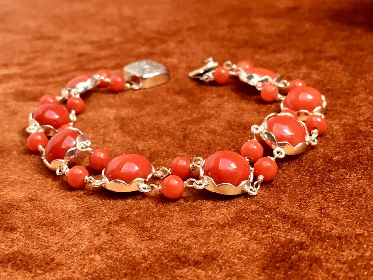 Red Coral Bracelet Handmade Italian Red Coral Silver  For Sale 1