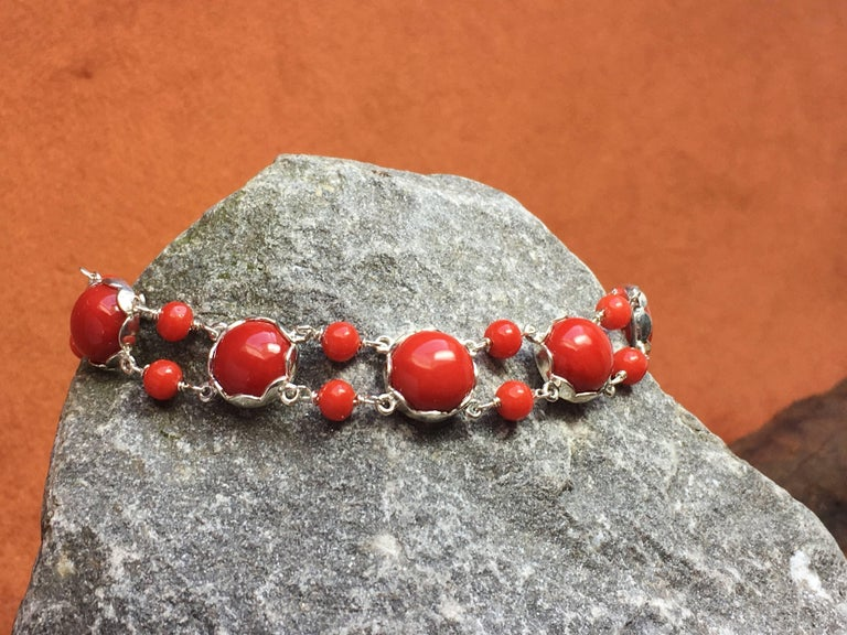 Red Coral Bracelet Handmade Italian Red Coral Silver  For Sale 2