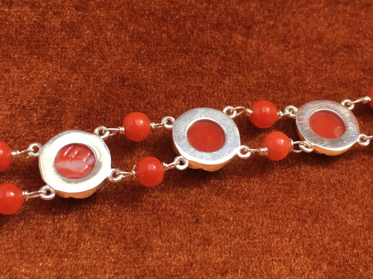 Red Coral Bracelet Handmade Italian Red Coral Silver  For Sale 3