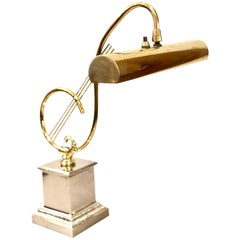 Treble Clef Piano Desk Lamp in Brass and Chrome Base by Laurel Lighting