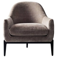 Treble Side Chair by DeMuro Das with Curved Back and Dark Espresso Oak Legs