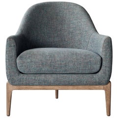 Treble Side Chair by DeMuro Das with Curved Back and Grey Oak Legs