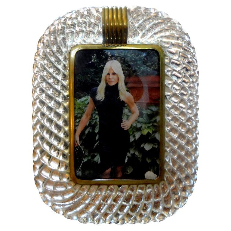 Treccia Twisted Murano Glass Picture Frame by Venini For Sale