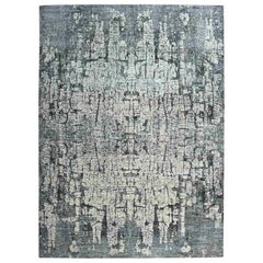 Tree Bark Abstract Hand-Knotted Soft Wool Oriental Rug