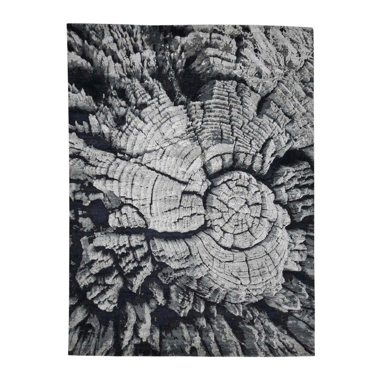 Tree Bark Wool and Silk with Abstract Design Black and Grey Hand Knotted