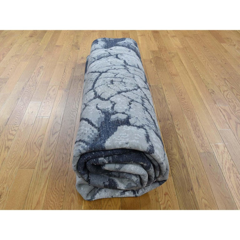 Tree Bark Wool and Silk with Abstract Design Black and Grey Hand Knotted 3