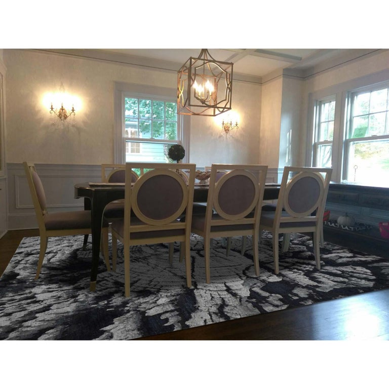 This is a truly genuine one-of-a-kind tree bark abstract design with wool and silk black and grey hand knotted Oriental rug. It has been knotted for months and months in the centuries-old Persian weaving craftsmanship techniques by expert artisans.